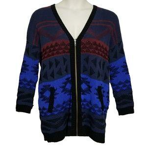 Old Navy Geometric Print Zip Up Sweater